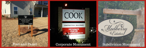 Various Outdoor Signage for Cook Construction