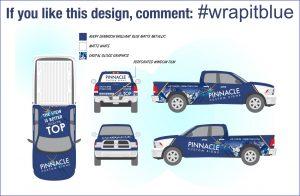 Blue Truck Wrap Design for Pinnacle