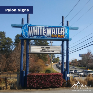 Pylon Sign for White Water Six Flags with an attached marquee sign for special messages.