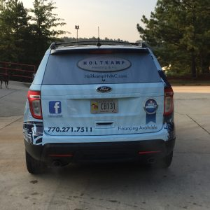 Rear Graphics for the Holtkamp Heating & Air Ford Explorer Wrap