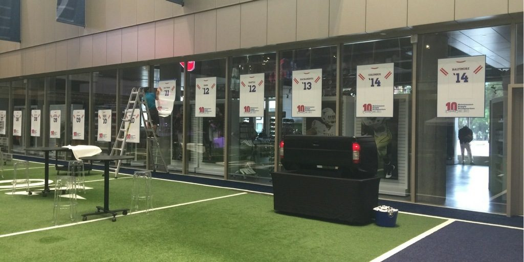 static cling window graphics installed for the College Football Hall of Fame