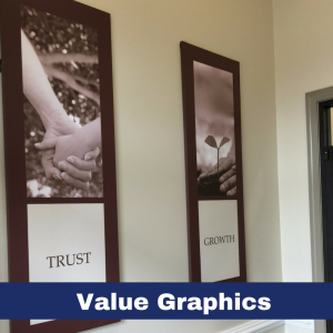 "24"" x 72"" canvas wall graphics displays the 7 core values of Pinnacle Bank"