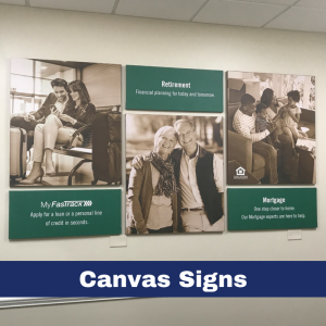 4'x8' collage wall graphics uses 6 canvas panels to promote core services