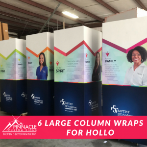 These Large Continual Wrap Vinyl Column Display can be relocated.