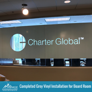 Finished Grey Vinyl for Charter Global Signage   Pinnacle Custom Signs