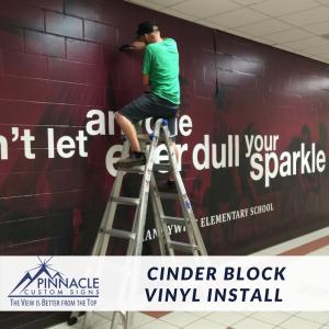Cinder Block Wall install for Brandywine Elementary   Cady Studios   Pinnacle Custom Signs   Atlanta, GA