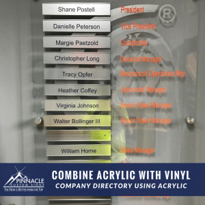 Company Directory using acrylic and vinyl
