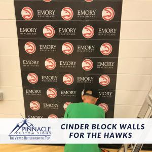 Cinder Block Wall install for Hawks Training Facility   Atlanta Hawks   Pinnacle Custom Signs   Atlanta, GA