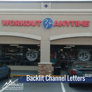 St. Lawrence Catholic Backlit Channel Letters for Workout Anytime in Dunwoody, GA