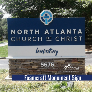Foamcore Monument Sign for North Atlanta Church of Christ
