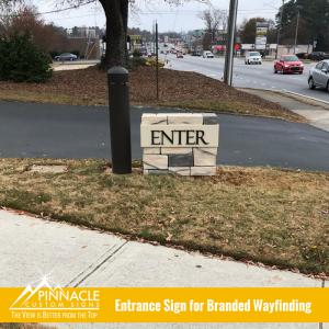 Branded Wayfinding Entrance Sign for St. Lawrence Catholic Church in Lawrenceville, GA