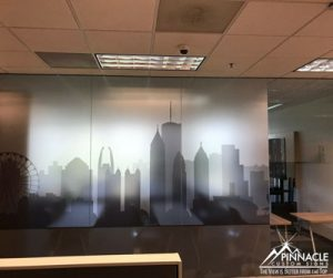 Vinyl window graphics to add decor and privacy
