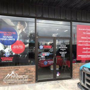 Window graphics for Workout Anytime in Calhoun, GA