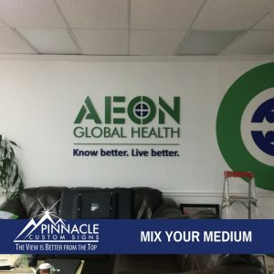 AEON Global Health used dimensional letters for their lobby sign