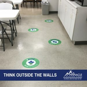 vinyl decals can be applied to floors for a unique sign opportunity