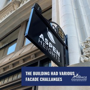 installing the business signs was tricky because of the different building facades