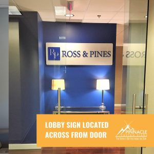 Lobby sign for Ross & Pines in Atlanta, GA