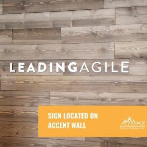 LeadingAgile logo sign on an accent wall