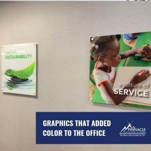 Acrylic signs with standoffs added color to the office space
