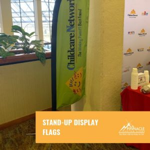 stand up display flags act as directional signage