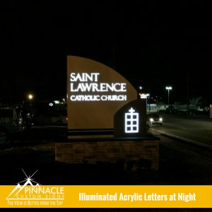 Illuminated Acrylic Letters At Night For St. Lawrence Church