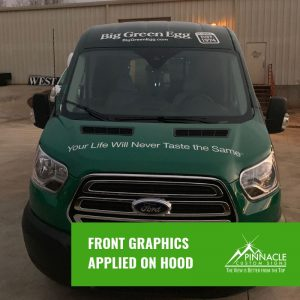 Front view of the vehicle wrap for the Big Green Egg