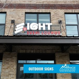 Outdoor building sign for Eight Sushi Lounge restuarant