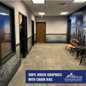 Vinyl brick graphics with chair rail
