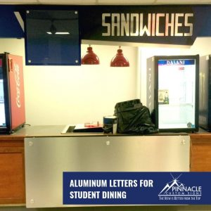 Custom signs for the student dining area