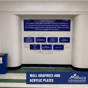 Acrylic signs and wall wraps make this area stand out