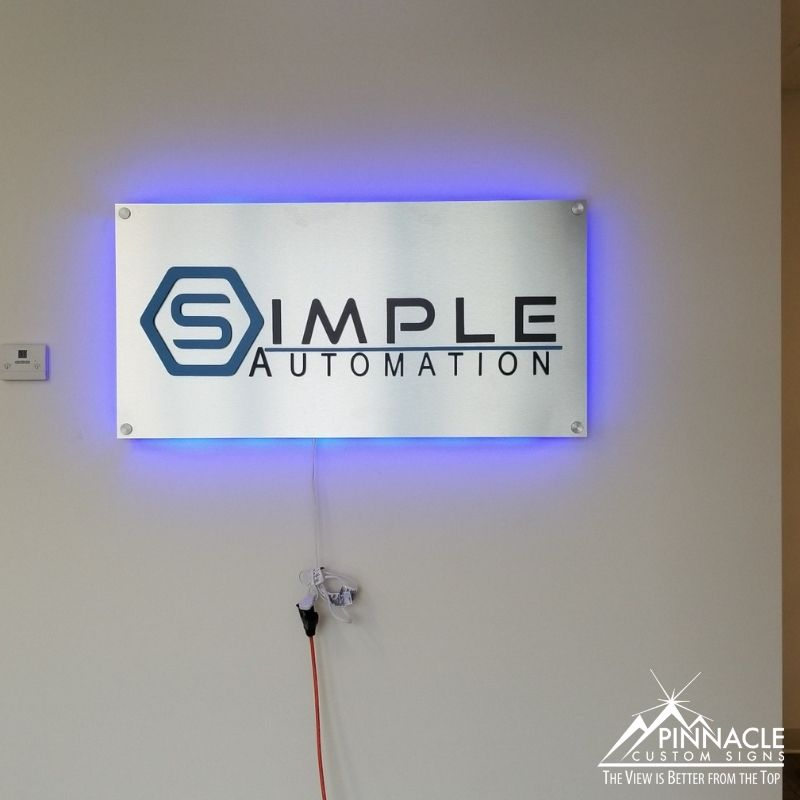 Backlit lobby sign for Simple Automation