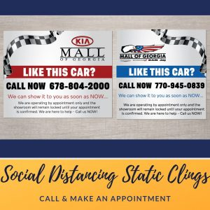 static clings - car decals for two car dealerships