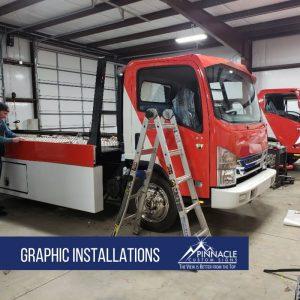 fleet graphics installation for Vroom transport trucks